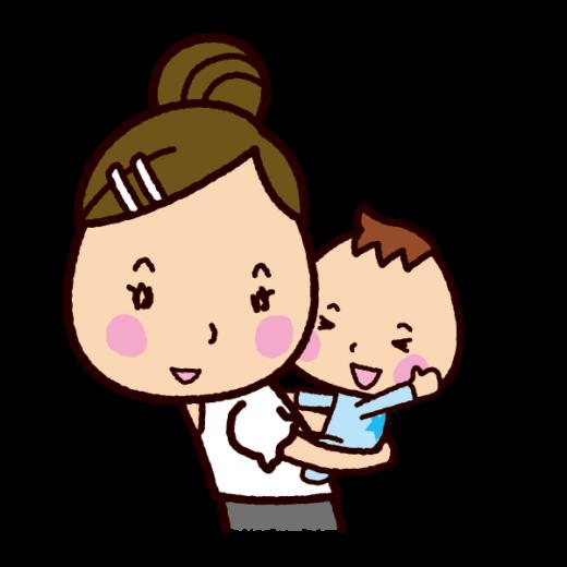 おんぶするイラスト(ママ)