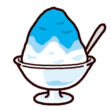 かき氷のイラスト(ガラスの器)(8カット)