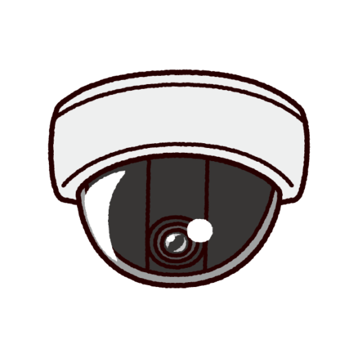 防犯カメラのイラスト(ドーム型・監視カメラ)