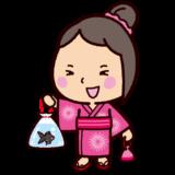 祭りのイラスト(金魚すくいと子供)