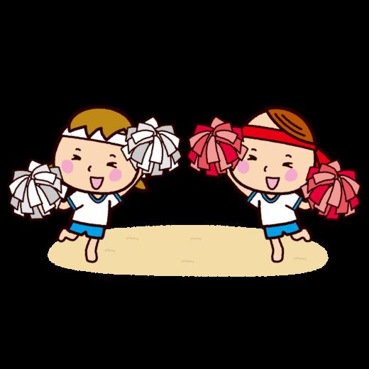 運動会のイラスト(応援女子)