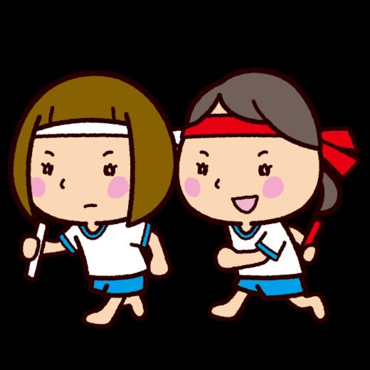 運動会のイラスト(リレー)