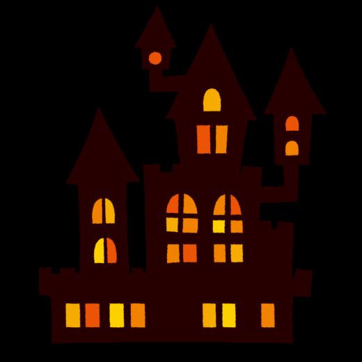 ハロウィンのイラスト(シルエット・お城)