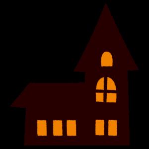 ハロウィンのイラスト(シルエット・建物)