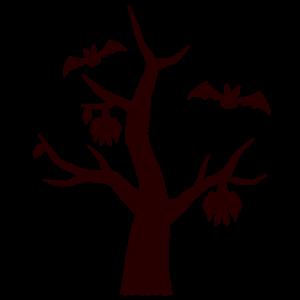 ハロウィンのイラスト(シルエット・木)