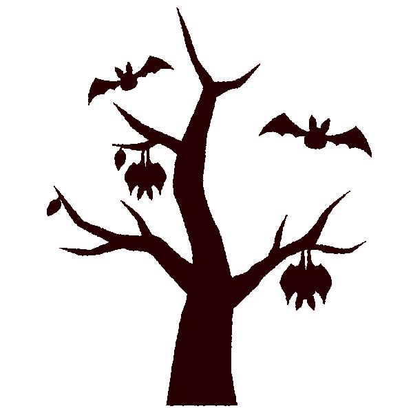 ハロウィンのイラストシルエット木 イラストくん