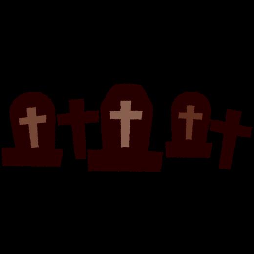 ハロウィンのイラスト(シルエット・墓地)
