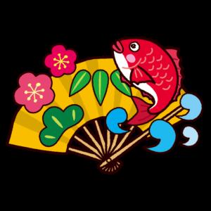 縁起物のイラスト(鯛扇子松竹梅)
