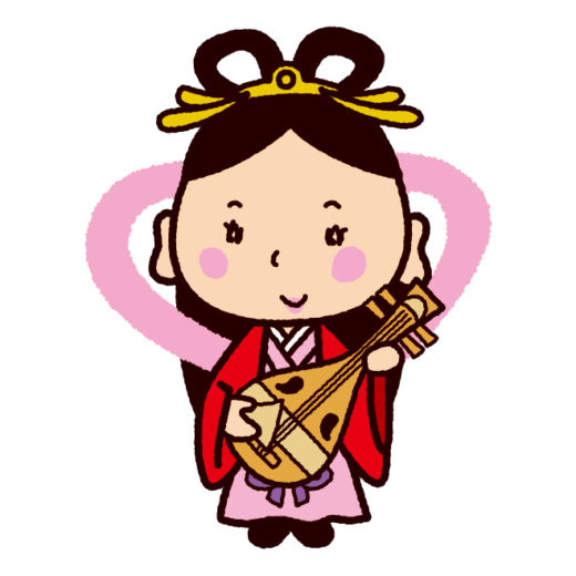 七福神のイラスト(弁財天)(3カット)