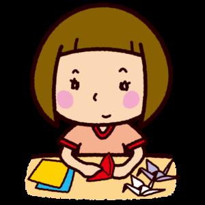 折り紙を折る子供のイラスト