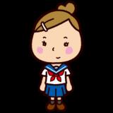 学生のイラスト(セーラー服・夏服)