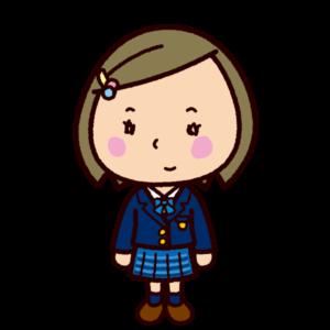 学生のイラスト(ブレザー・チェックスカート)
