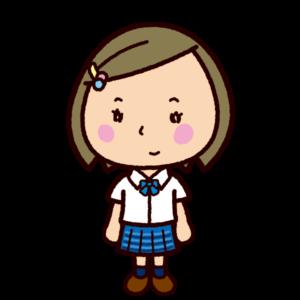 学生のイラスト(ブレザー・チェックスカート・夏服)