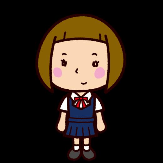 学生のイラスト(女子ブレザー・夏服)