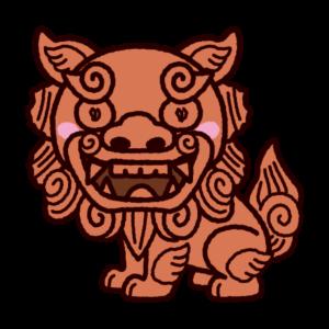 シーサーのイラスト(阿・座り)