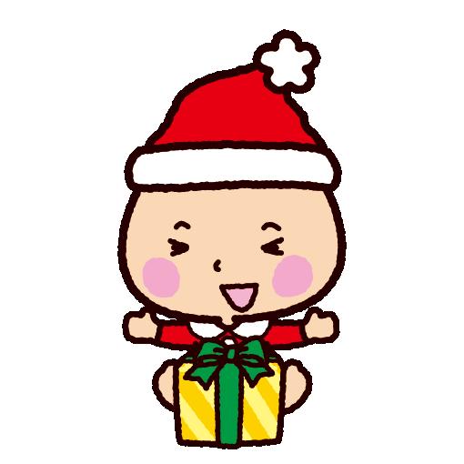 クリスマスのイラストサンタの格好の赤ちゃん イラストくん