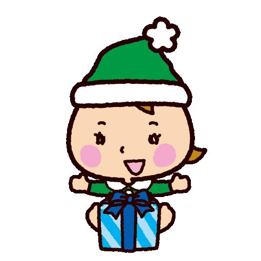 クリスマスのイラスト(サンタの格好の赤ちゃん)