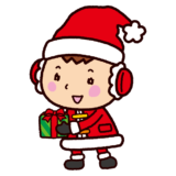 クリスマスのイラスト(サンタの格好の子供)