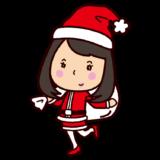クリスマスのイラスト(サンタの格好の女性)