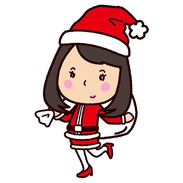 クリスマスのイラストサンタの格好の女性 イラストくん