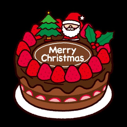 クリスマスケーキのイラスト(チョコレート)(2カット)