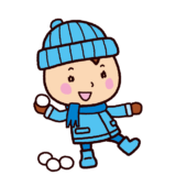 雪合戦のイラスト(男の子・雪遊び)