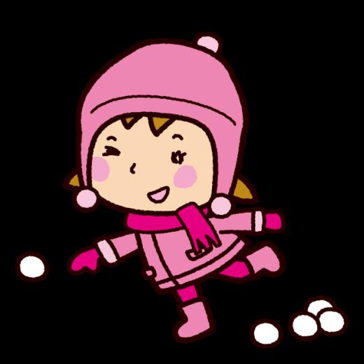 雪合戦のイラスト(女の子・雪遊び)