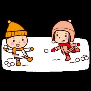 雪合戦のイラスト(雪遊び)