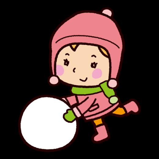 雪だるまを作るイラスト(女の子)