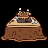 こたつと鍋のイラスト