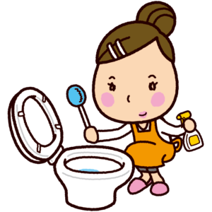 トイレ掃除のイラスト(女性)