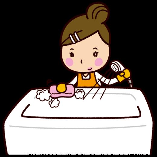 お風呂掃除のイラスト(女性)