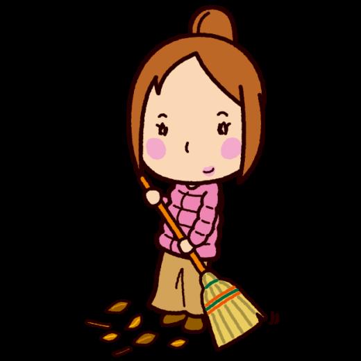 掃除のイラスト(掃き掃除・女性)