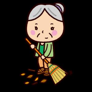 掃除のイラスト(掃き掃除・老人)