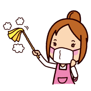 掃除のイラスト(はたき・女性)