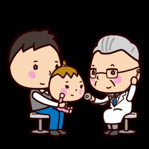 診察のイラスト(医者・ドクター・女医・赤ちゃん)