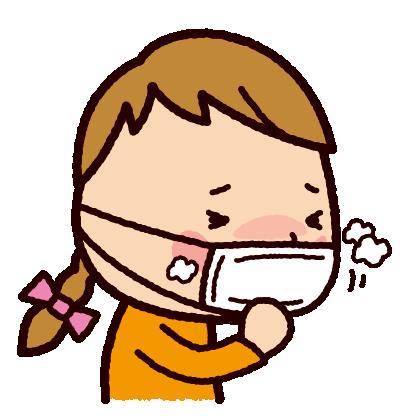 咳のイラスト(マスク・子供)