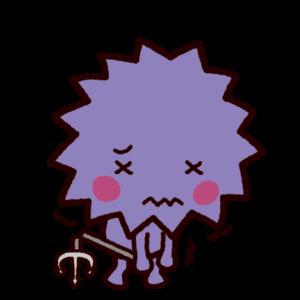弱ったバイキンのキャラクターのイラスト(ウィルス)