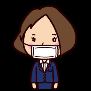 マスクをしたOLのイラスト
