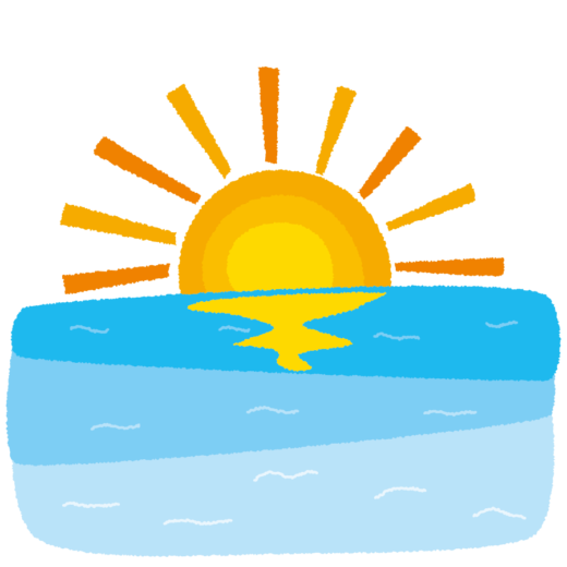 背景イラスト(海の日の出)