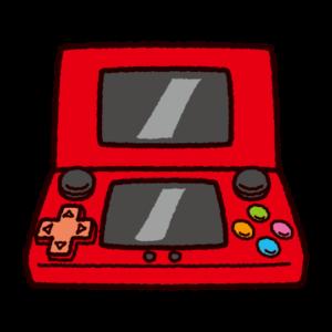 携帯型ゲーム機のイラスト(2画面)