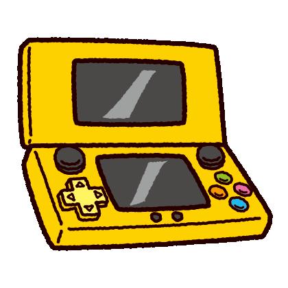 携帯型ゲーム機のイラスト(2画面タイプ)