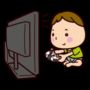 TVゲームをする子供のイラスト