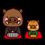 イノシシのイラスト(うり坊・紋付袴・着物)