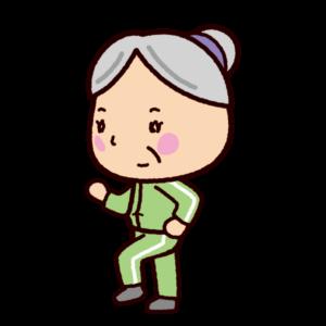 ウォーキングのイラスト(老人・女性)