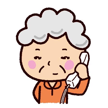 電話をする老人のイラスト(おばあさん)(2カット)