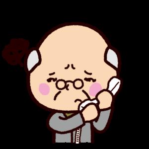 困った表情で電話をする老人のイラスト(詐欺)
