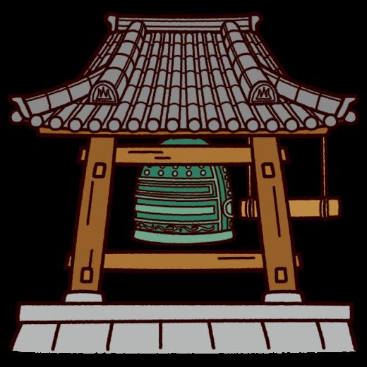 お寺の鐘のイラスト(除夜の鐘)