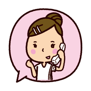 吹き出しのイラスト(電話をする女性)