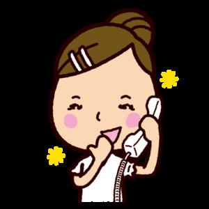 楽しそうに電話をする女性のイラスト